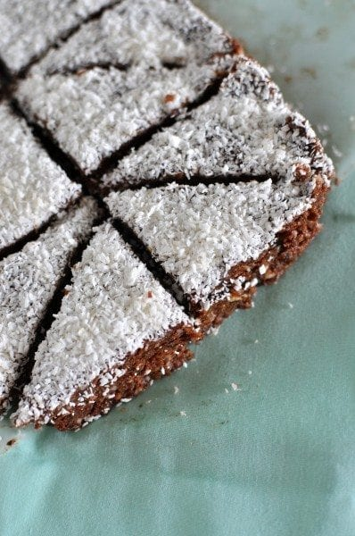 Vegan Paleo chocolate slice with coconut and macadamia via www.clairekcreations.com
