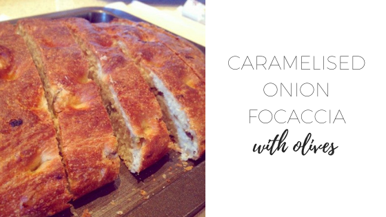 Caramelised onion focaccia with olives