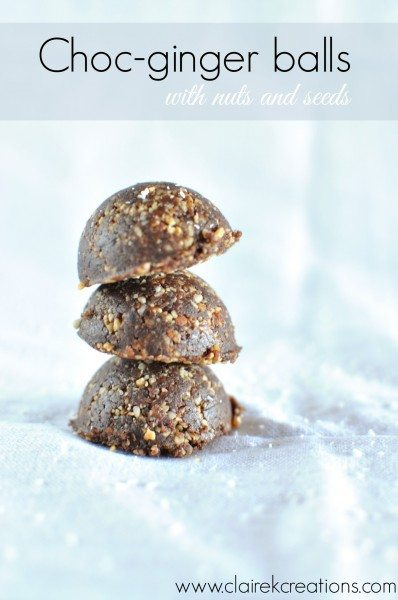 Choc ginger nut and seed balls via www.clairekcreations.com