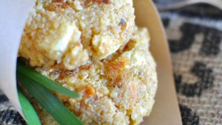 Pumpkin and quinoa fritters with feta