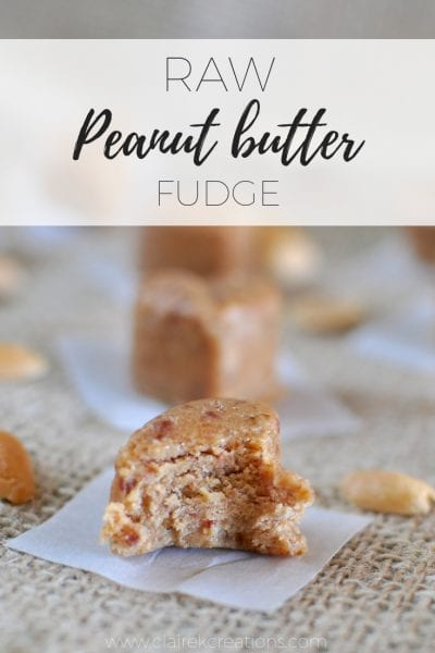 Raw peanut butter fudge via www.clairekcreatkons.com