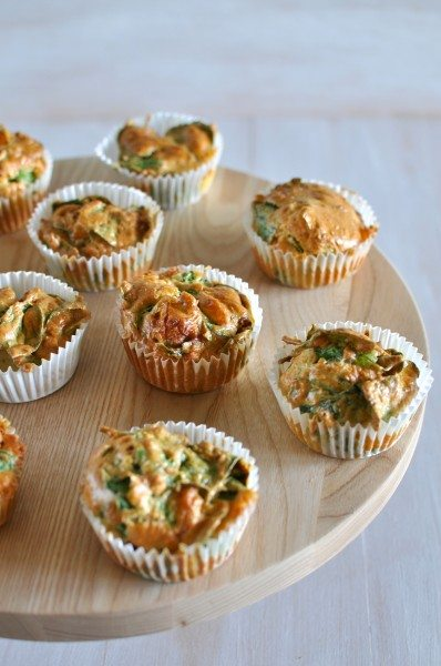 Savoury muffins with feta pumpkin and spinach