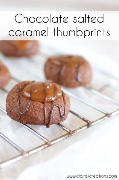 Chocolate salted caramel thumbprints via www.clairekcreations.com