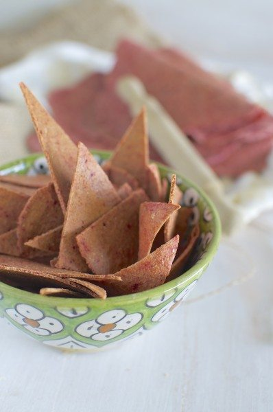 Beetroot flatbread and chips via www.clairekcreations.com