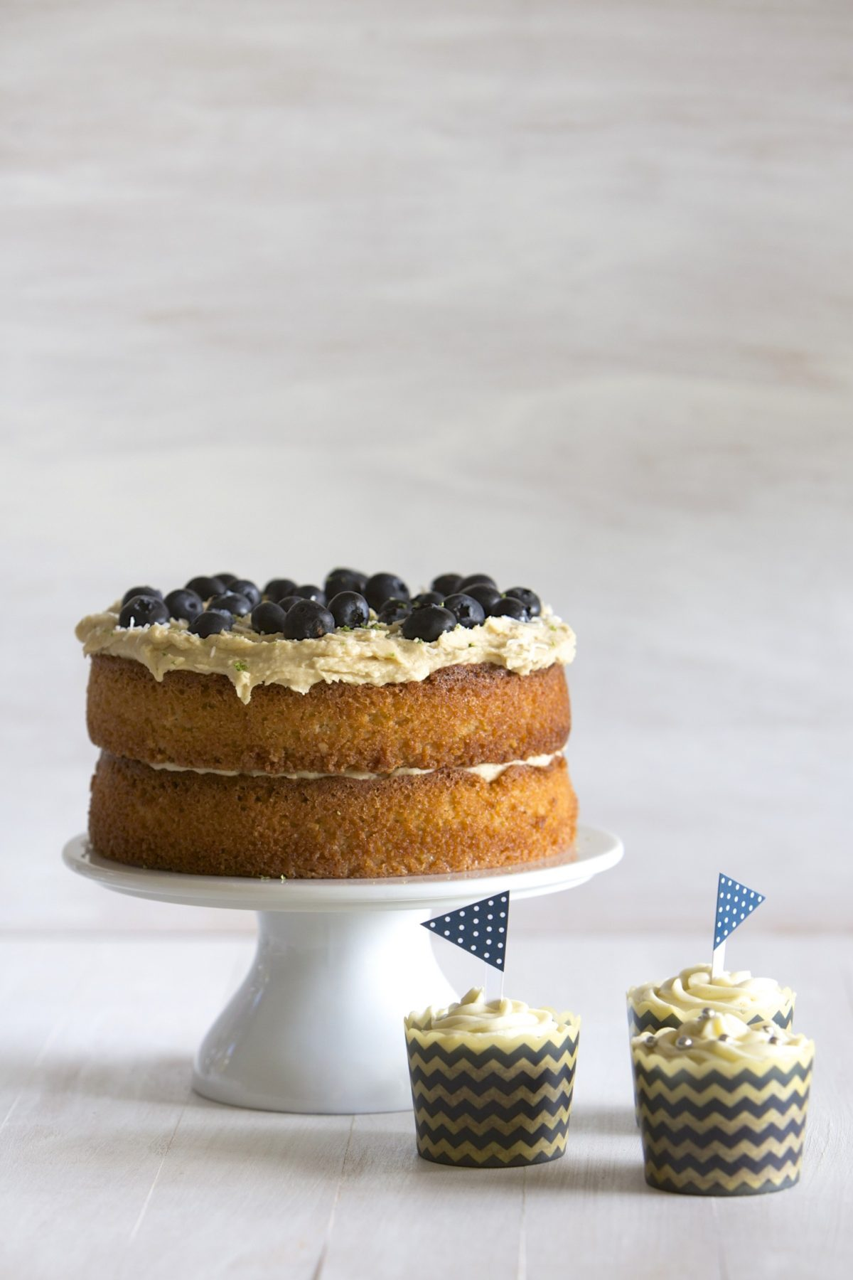 Gluten free lime and blueberry cake with coconut