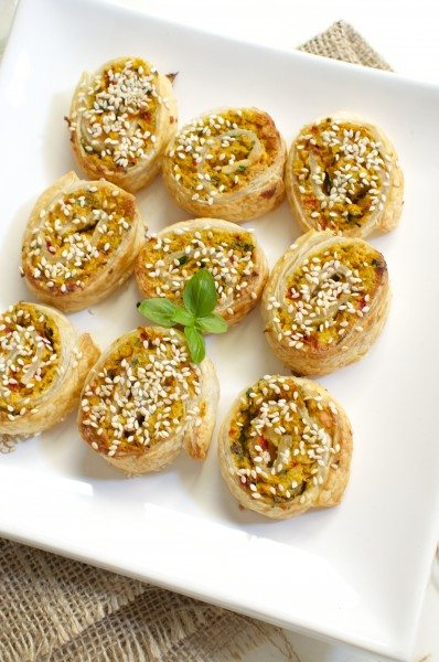 Vegetarian sausage rolls with chickpeas via www.clairekcreations.com