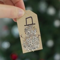 Snow man Christmas gift tags with glitter