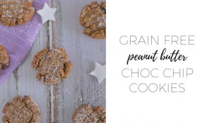 Grain free peanut butter choc chip cookies