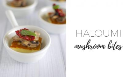 Haloumi mushroom bites with sundried tomato and basil