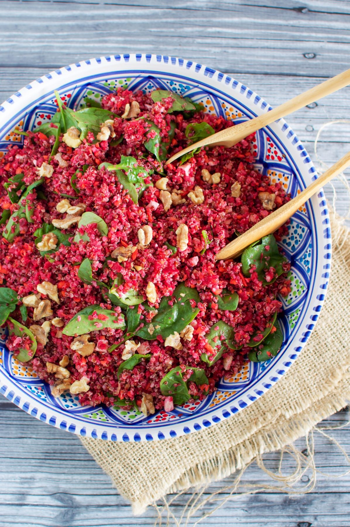 Pink quinoa salad with walnuts