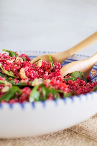 Pink quinoa salad with walnuts via www.clairekcreations.com