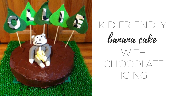 Kid friendly banana cake with chocolate icing