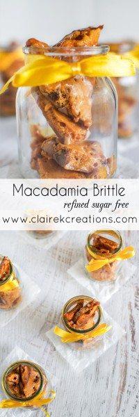 Refined sugar free macadamia brittle via www.clairekcreations.com