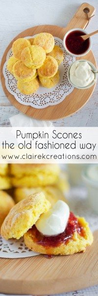 Pumpkin scones the old fashioned way via www.clairekcreations.com