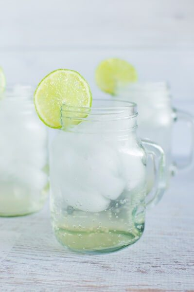 Ginger and lime fizz with homemade ginger syrup via www.clairekcreations.com
