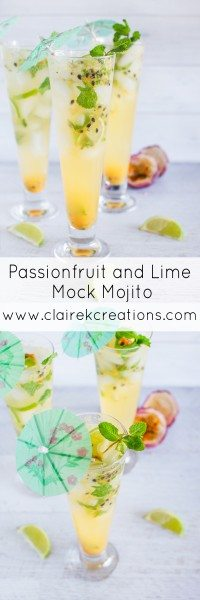 Passionfruit and lime mock mojito via www.clairekcreations.com