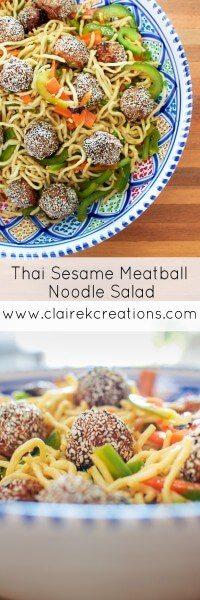 Thai sesame meatball noodle salad via www.clairekcreations.com