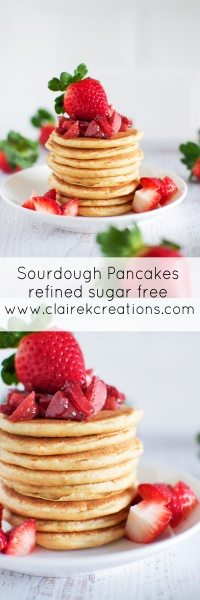 Sourdough pancakes (refined sugar free) via www.clairekcreations.com