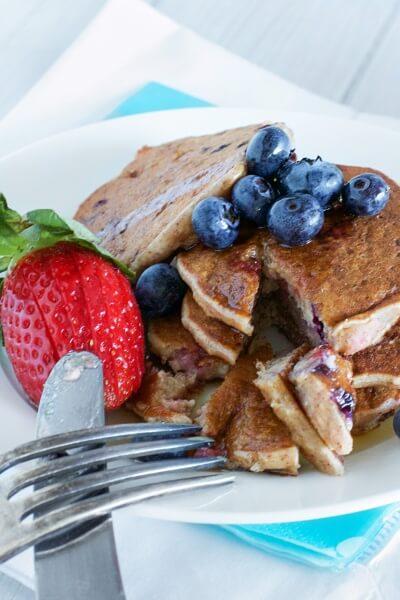 Berry pancakes (egg free) via www.clairekcreations.com