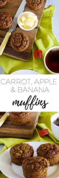 Carrot, apple & banana muffins