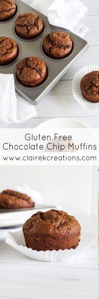 Gluten free chocolate chip muffins via www.clairekcreations.com