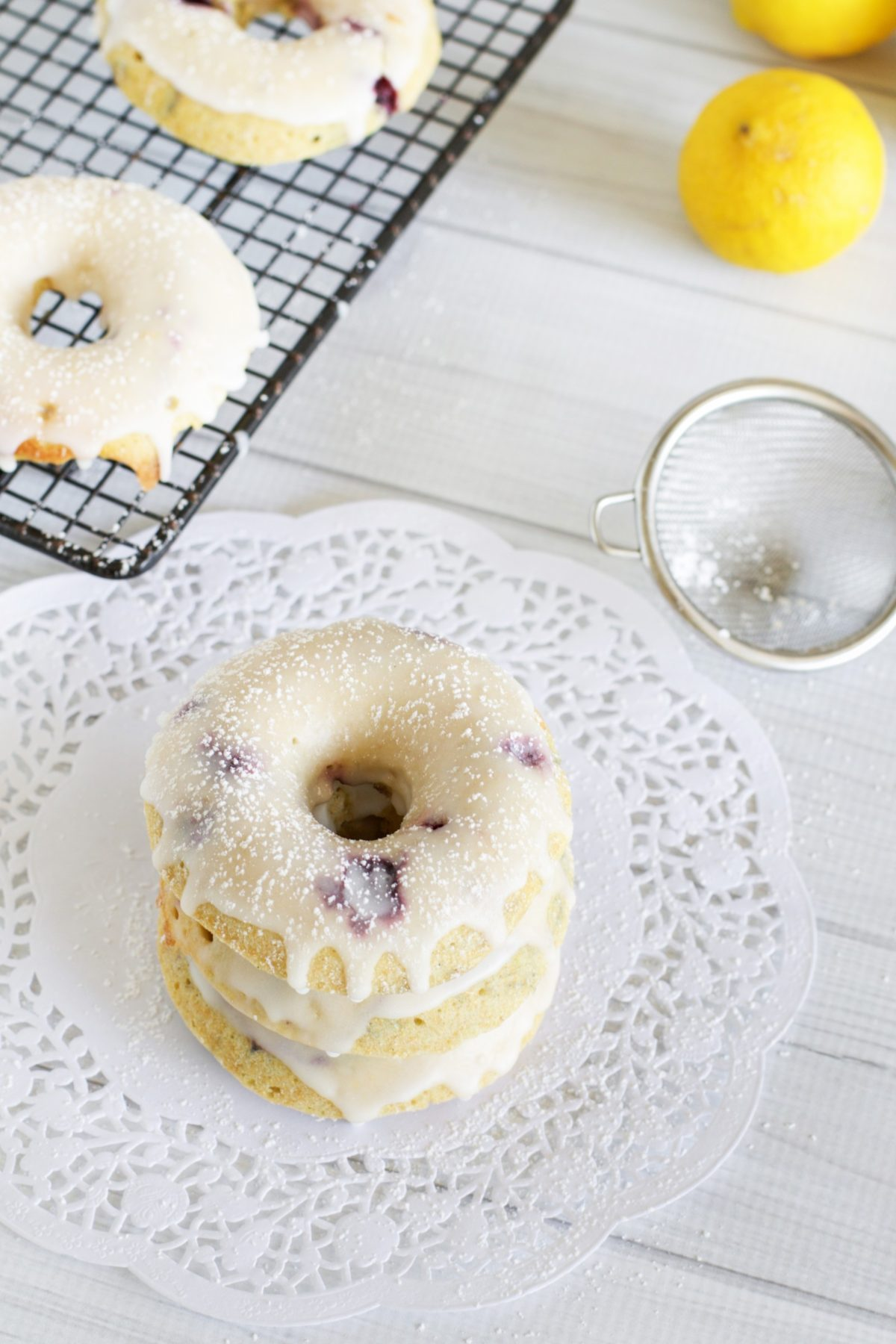 Lemon and blueberry baked donuts