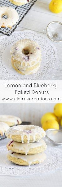 Lemon and blueberry baked donuts via www.clairekcreations.com