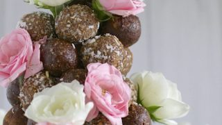 Choc-almond and rosewater bliss balls