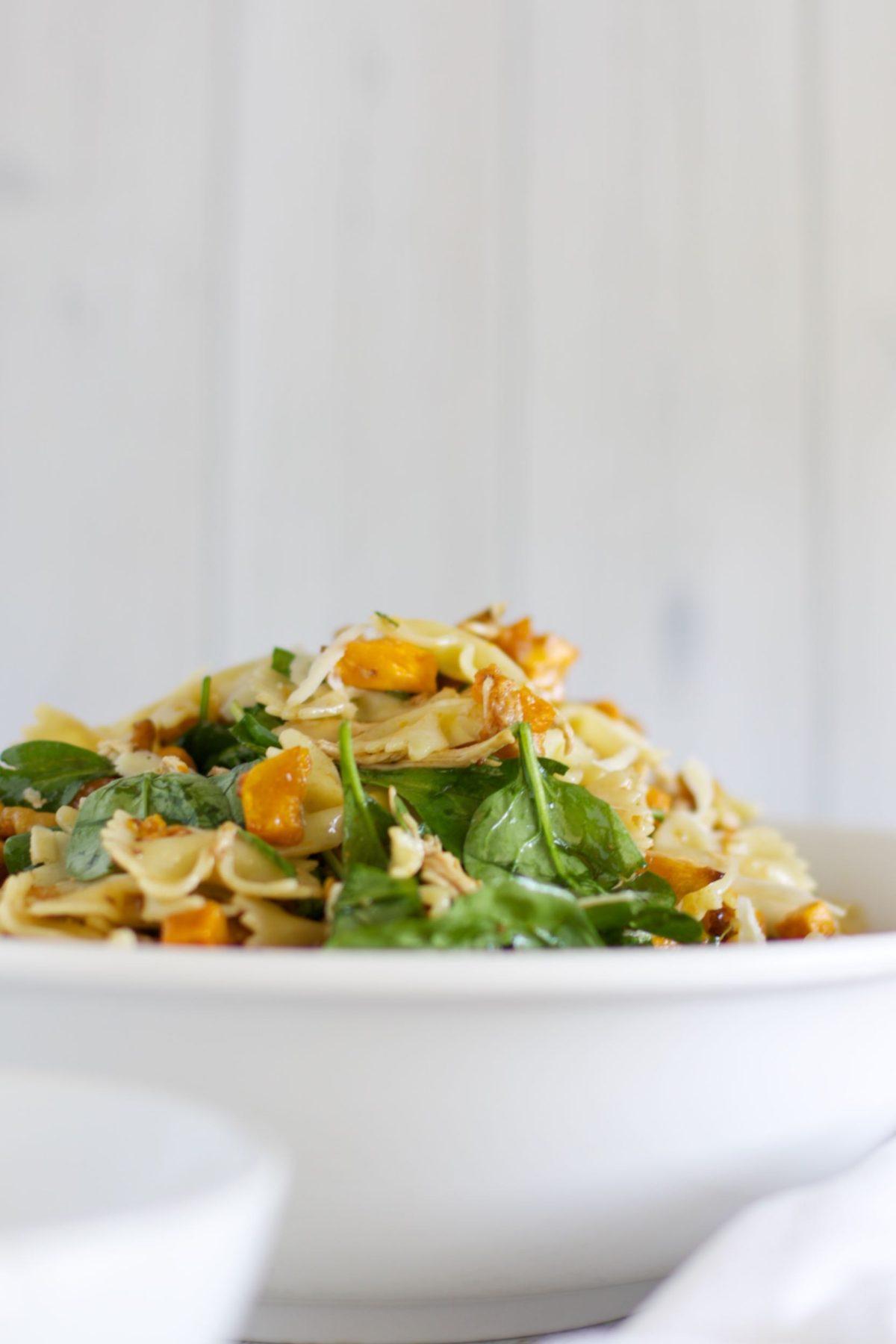 Maple pumpkin and walnut pasta salad with chicken