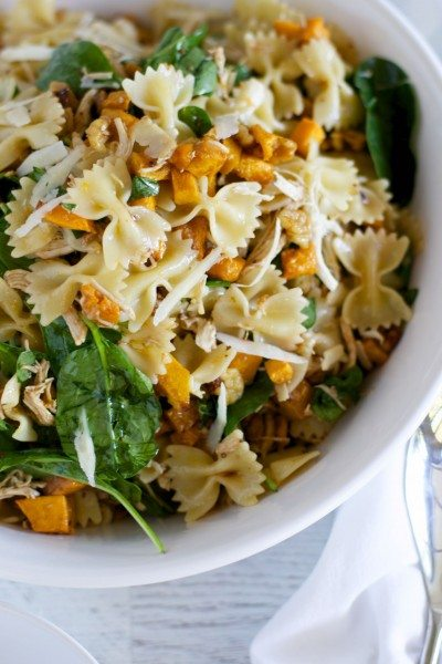 Maple pumpkin and walnut pasta salad with chicken via www.clairekcreations.com