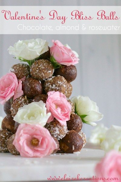 Chocolate almond and rose Bliss Balls via www.clairekcreations.com