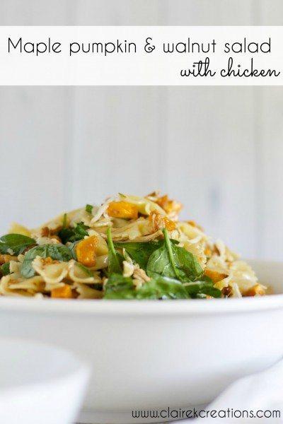 Maple pumpkin and walnut pasta salad with chicken via www.clairekcreations.com