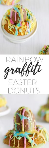 Rainbow graffiti Easter eggs - a colourful Easter desert via www.clairekcreations.com