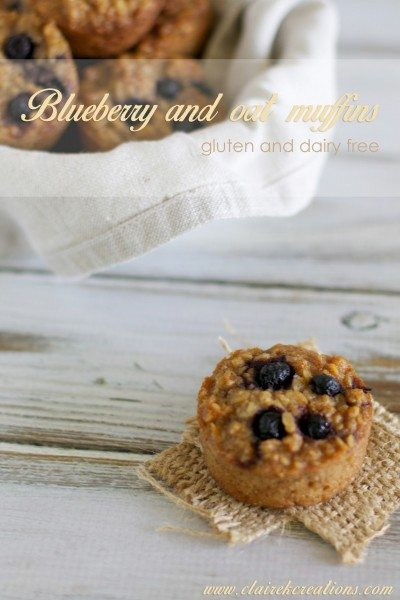 Gluten free blueberry and oat muffins