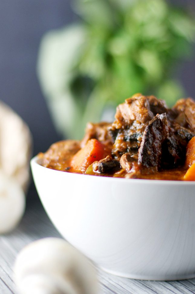 Beef, red wine and mushroom casserole