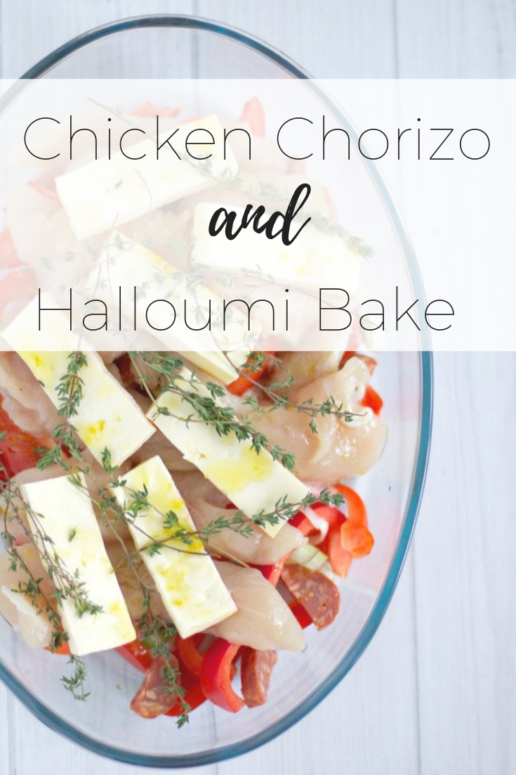 Chicken chorizo and halloumi bake