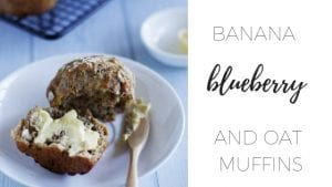 Banana blueberry and oat muffins via www.clairekcreations.com