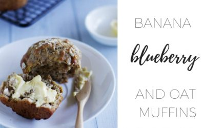 Banana blueberry and oat muffins
