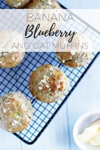 banana and blueberry oat muffin via www.clairekcreations.com