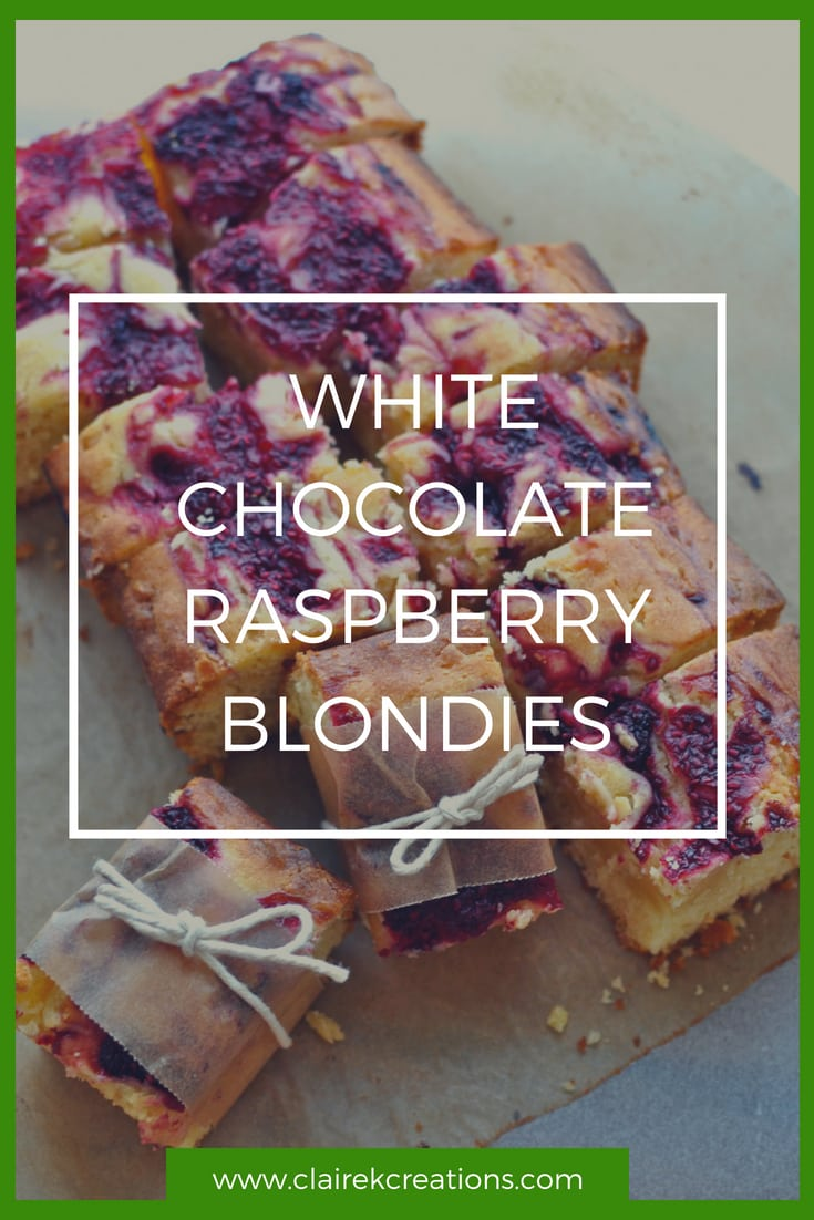 White chocolate and raspberry blondies via www.clairekcreations.com