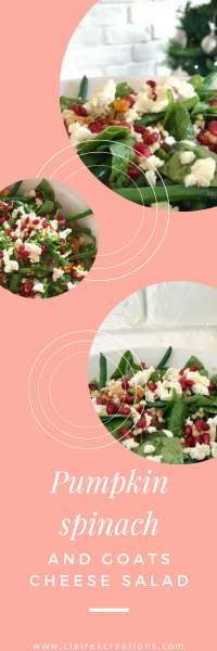 Healthy and easy to make pumpkin spinach and goats cheese salad