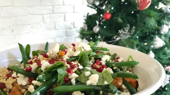 Pumpkin Spinach and goats cheese salad that's easy to make