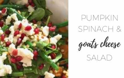 Pumpkin spinach and goats cheese salad