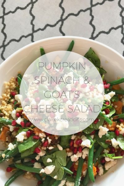 Easy to make Pumpkin Spinach and goats cheese salad via www.clairekcreations.com