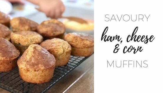 Savoury ham cheese and corn muffins