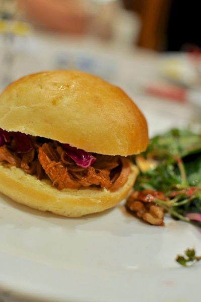 Pulled pork sliders in the slow cooker