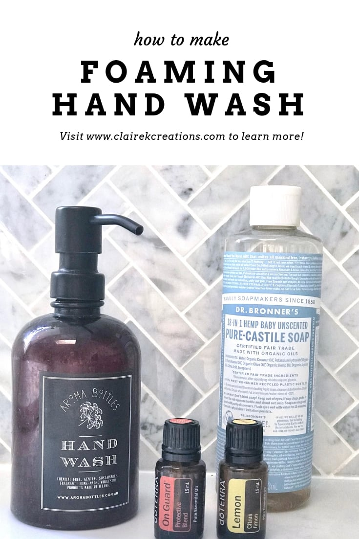 homemade foaming hand wash using doTERRA essential oils