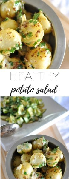 Healthy potato salad - potato salad in a silver bowl - vegan potato salad