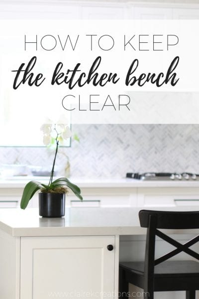 How to keep the kitchen bench clear via www.clairekcreations.com