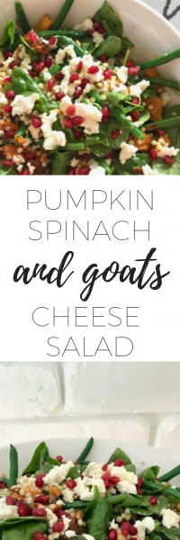 Delicious Pumpkin spinach with goats cheese salad